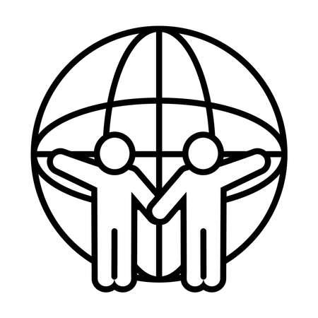 pictogram people and global sphere icon over white background, line style, vector illustration Vektoros illusztráció