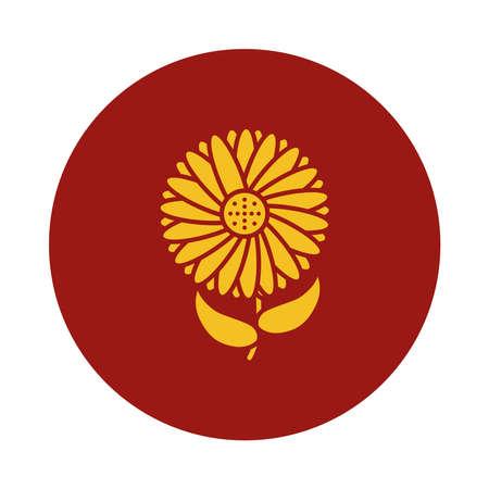 sunflower icon over white background, block style, vector illustration