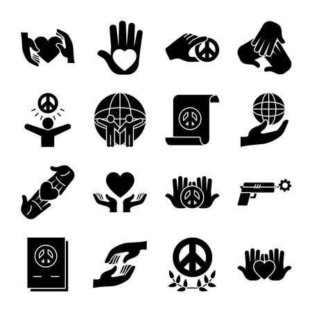 icon set of peace and global spheres over white background, silhouette style, vector illustration