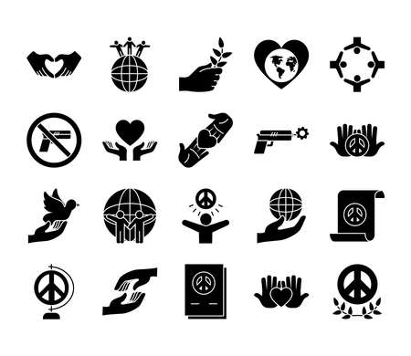 icon set of peace and dove over white background, silhouette style, vector illustration 矢量图像