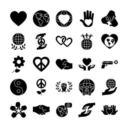 icon set of flowers and peace over white background, silhouette style, vector illustration