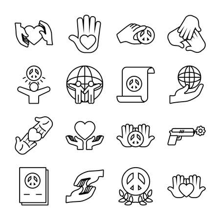 icon set of peace and global spheres over white background, line style, vector illustration