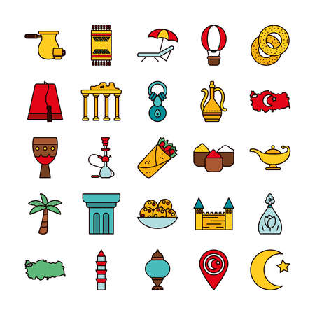 icon set of turkey country and arabian lamp over white background, line and fill style, vector illustration