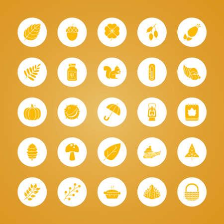 pilgrim hat and autumn icon set over yellow background, block style, vector illustration