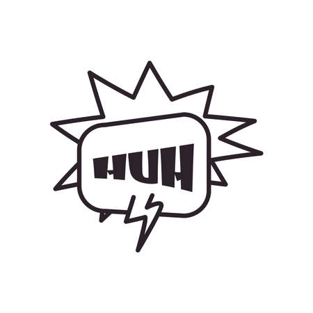 huh explosion bubble line style icon design of pop art retro expression comic theme Vector illustration