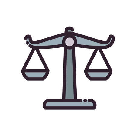 scale line and fill style icon design, Law justice legal judgment and judical theme Vector illustration