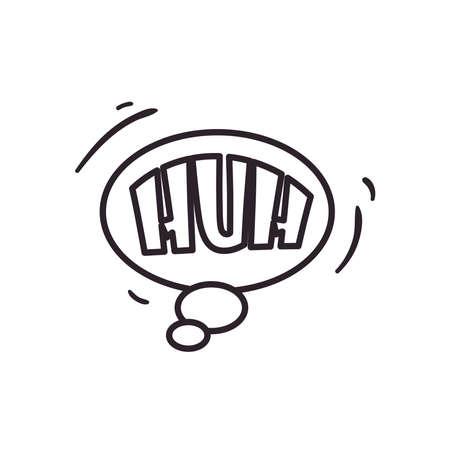huh bubble line style icon design of pop art retro expression comic theme Vector illustration