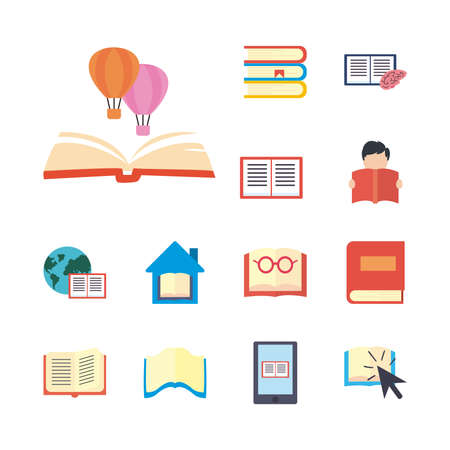 books and ebooks flat style icon set design, Education literature and read theme Vector illustration