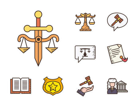 line and fill style set icons design, Law justice legal judgment and judical theme Vector illustration
