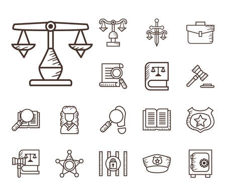 line style collection of icons design, Law justice legal judgment and judical theme Vector illustration