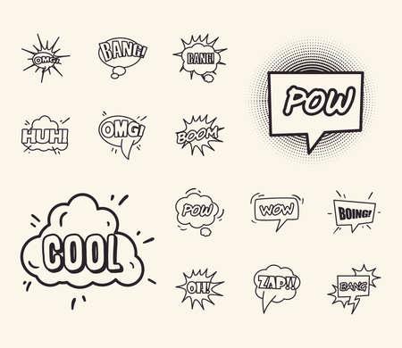 bubbles line style icon set design of pop art retro expression comic theme Vector illustration