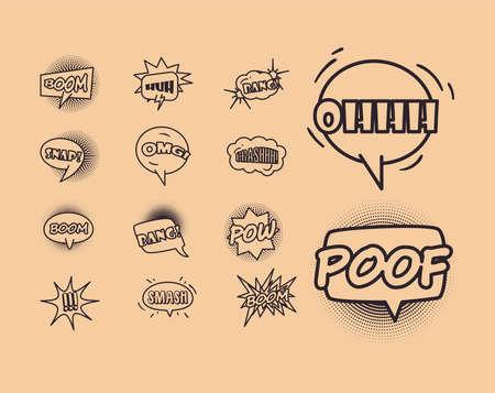 bubbles line style set icons design of pop art retro expression comic theme Vector illustration