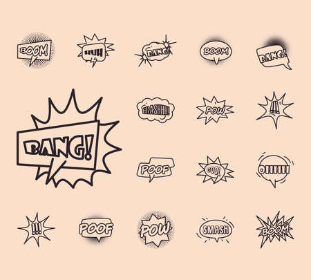 bubbles line style collection of icons design of pop art retro expression comic theme Vector illustration