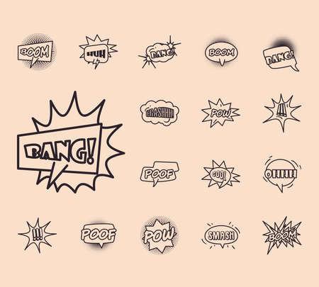 bubbles line style collection of icons design of pop art retro expression comic theme Vector illustration Illusztráció