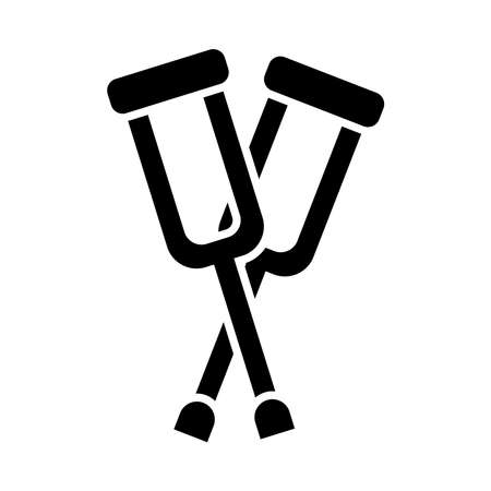 crossed crutches icon over white background, silhouette style, vector illustration Ilustrace