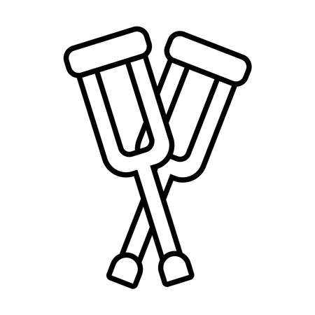 crossed crutches icon over white background, line style, vector illustration