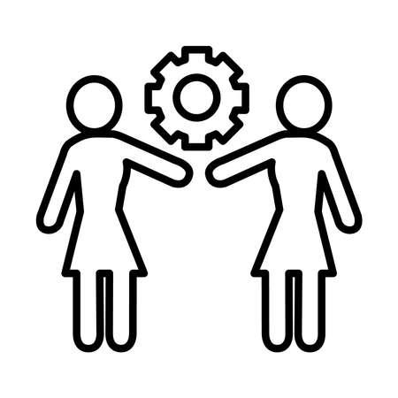 feminism concept, pictogram couple of women and gear wheel icon over white background, line style, vector illustration