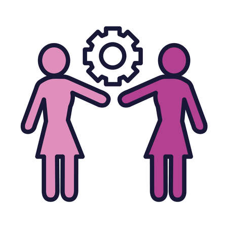 feminism concept, pictogram couple of women and gear wheel icon over white background, line and fill style, vector illustration Ilustración de vector