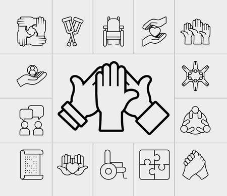 icon set of inclusion and hands over gray background, line style, vector illustration