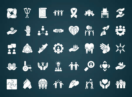 icon set of inclusion over blue background, silhouette style, vector illustration Vetores