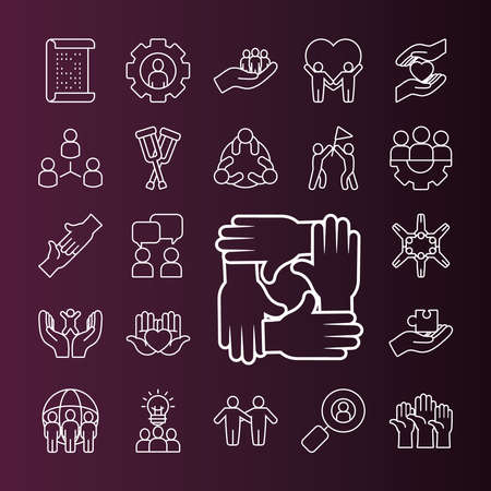 pictogram people and inclusion icon set over purple background, line style, vector illustration