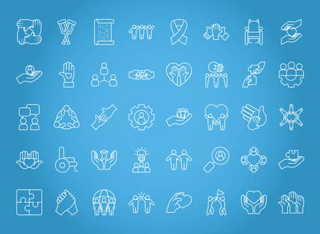 icon set of inclusion over blue background, line style, vector illustration