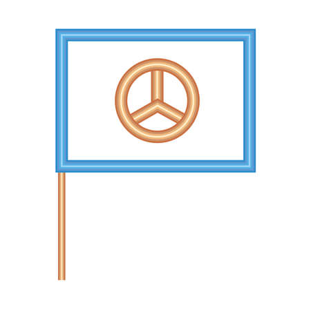 flag with peace symbol icon over white background, neon style, vector illustration