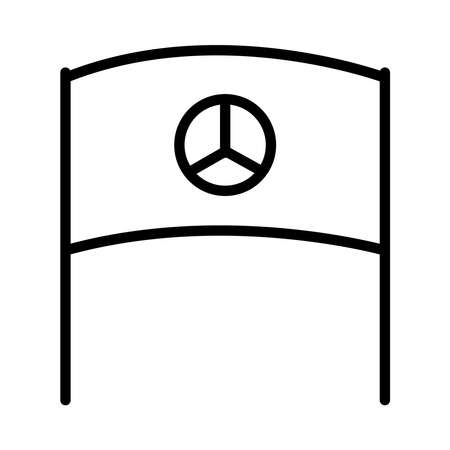 sign flag with peace symbol icon over white background, line style, vector illustration