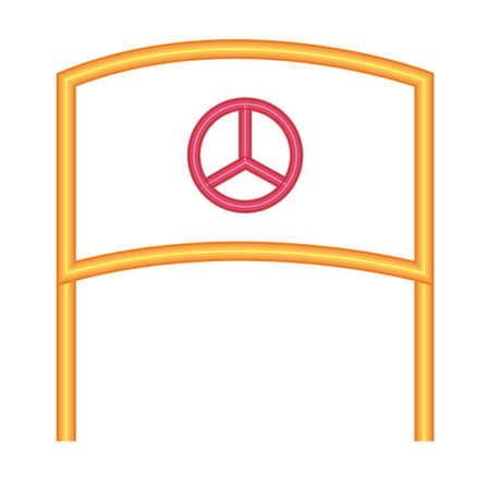 sign flag with peace symbol icon over white background, neon style, vector illustration 矢量图像