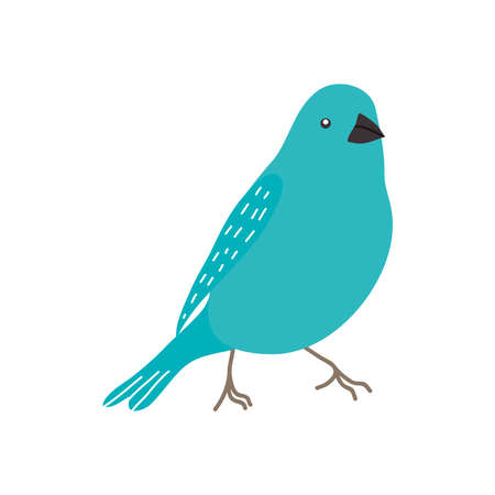 turquoise bird icon over white background, flat style, vector illustration