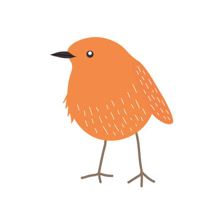 little orange bird icon over white background, flat style, vector illustration