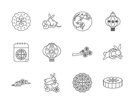 mooncake and mid autumn icon set over white background, line style, vector illustration