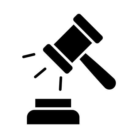 justice gavel icon over white background, silhouette style, vector illustration