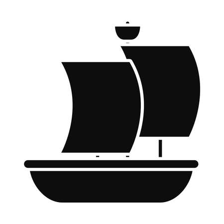 old sailing boat icon over white background, silhouette style, vector illustration