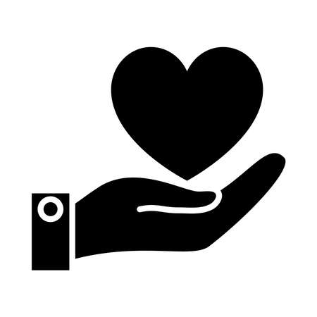 hnad holding a heart icon over white background, silhouette style, vector illustration Vector Illustratie