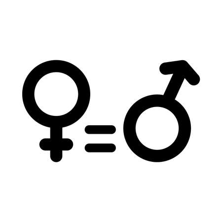 equality symbol, female and male gender symbols over white background, silhouette style, vector illustration