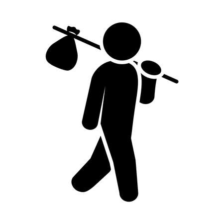 migrant man holding a stick with bag over white background, silhouette style, vector illustration