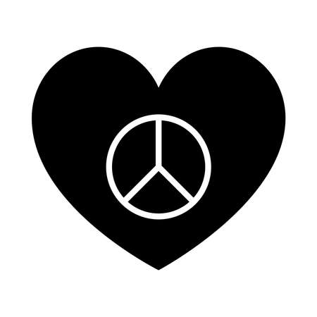 heart with peace symbol icon over white background, silhouette style, vector illustration Ilustração