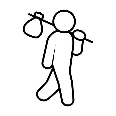 migrant man holding a stick with bag over white background, line style, vector illustration