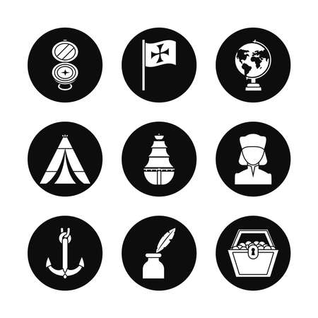 Columbus day and compass icon set over white background, silhouette style, vector illustration