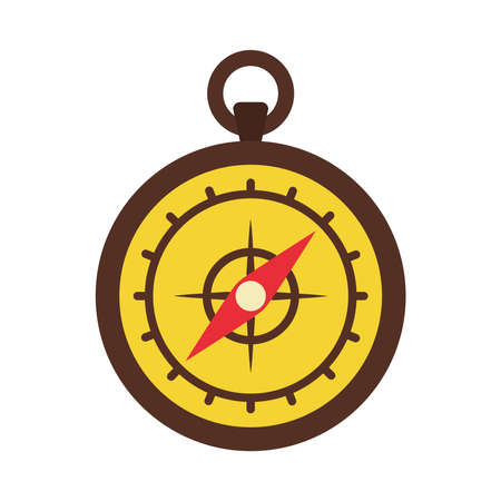 old compass icon over white background, flat style, vector illustration