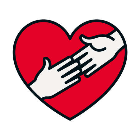 heart with hands touching icon over white background, line and fill style, vector illustration