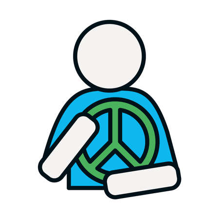 pictogram man hugging a peace symbol icon over white background, line and fill style, vector illustration