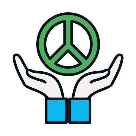 hands with peace symbol icon over white background, line and fill style, vector illustration