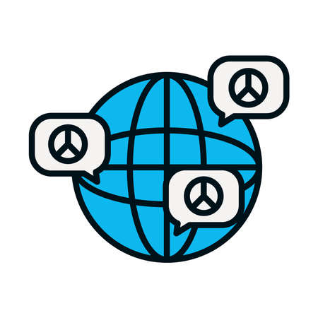 global sphere and speech bubbles with peace symbols over white background, line and fill style, vector illustration