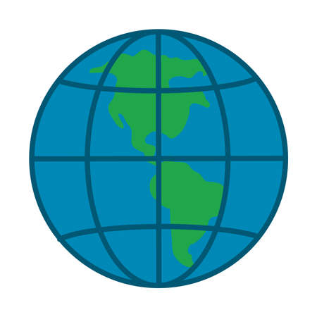earth planet icon over white background, flat style, vector illustration Vettoriali