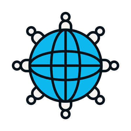 pictogram people around global sphere over white background, line and fill style, vector illustration