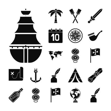 sailing boat and Columbus day icon set over white background, silhouette style, vector illustration Vettoriali