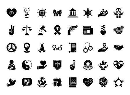 Justice and human rights icon set over white background, silhouette style, vector illustration