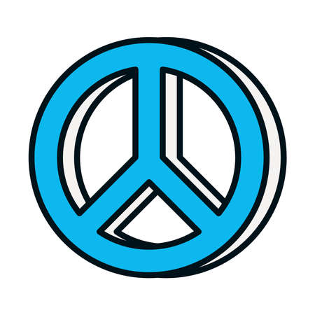 peace symbol icon over white background, line and fill style, vector illustration